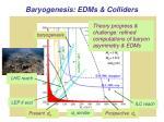 baryogenesis edms colliders