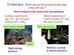 challenges what role can low energy studies play in the lhc era