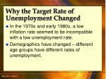 why the target rate of unemployment changed