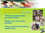 active play and inactive time outdoor play