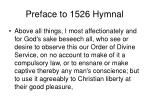 preface to 1526 hymnal