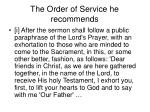 the order of service he recommends42