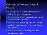 checklist of common logical fallacies