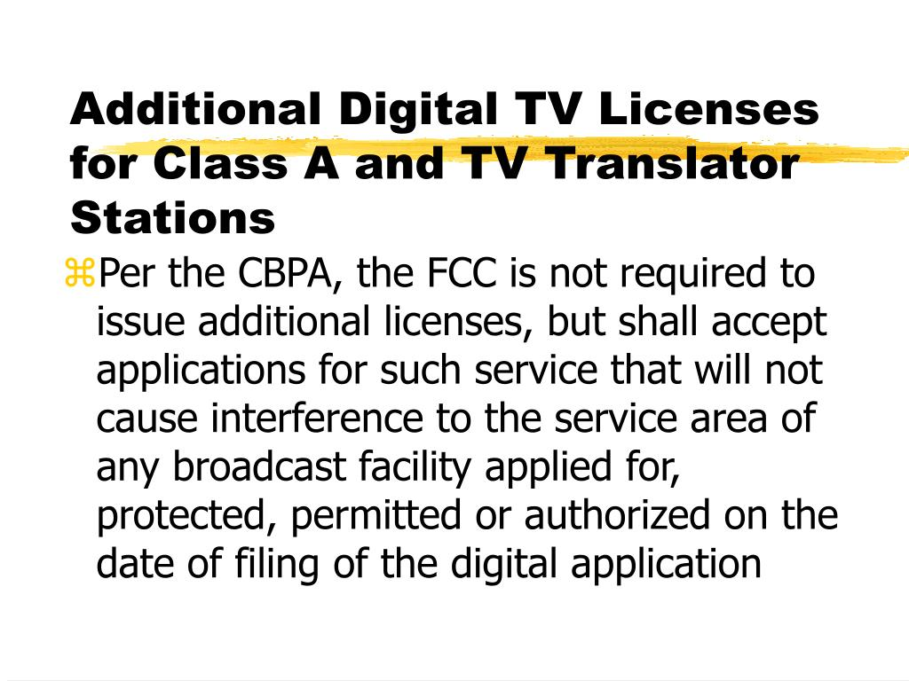 Additional Digital TV Licenses for Class A and TV Translator Stations
