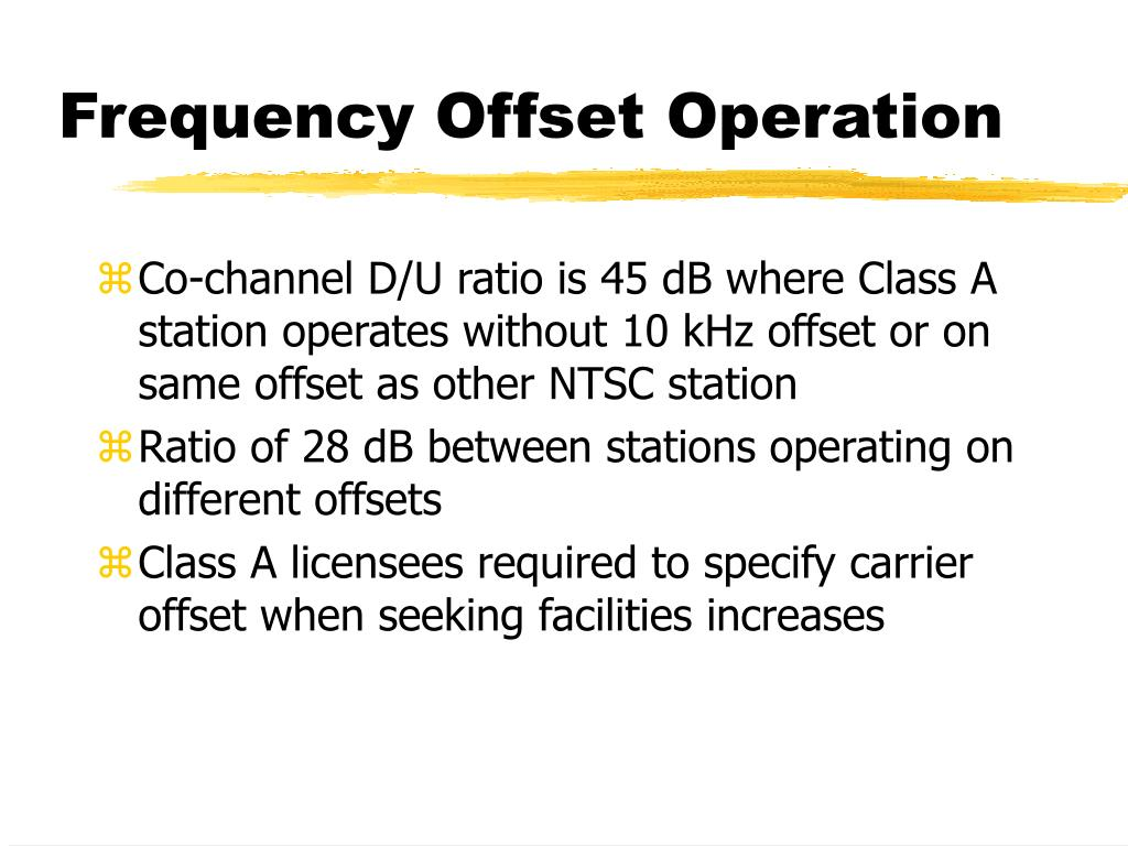 Frequency Offset Operation
