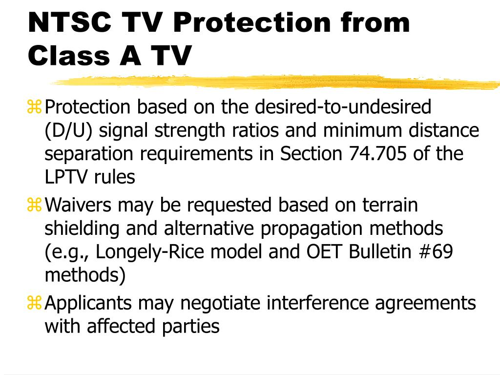 NTSC TV Protection from Class A TV