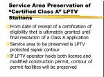 service area preservation of certified class a lptv stations