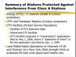 summary of stations protected against interference from class a stations