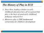 the history of play in ece5