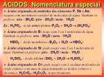 cidos nomenclatura especial