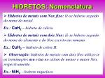 hidretos nomenclatura