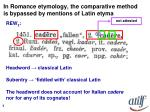 in romance etymology the comparative method is bypassed by mentions of latin etyma