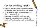 can my child buy lunch