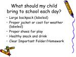 what should my child bring to school each day