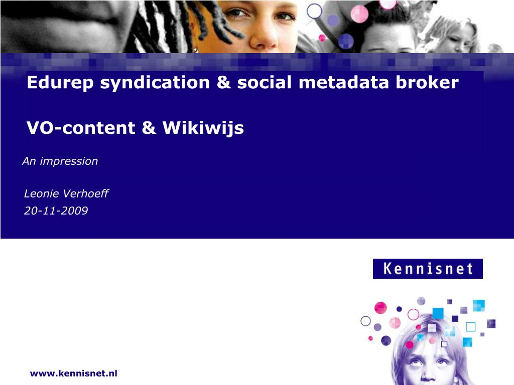 edurep syndication social metadata broker vo content wikiwijs l.