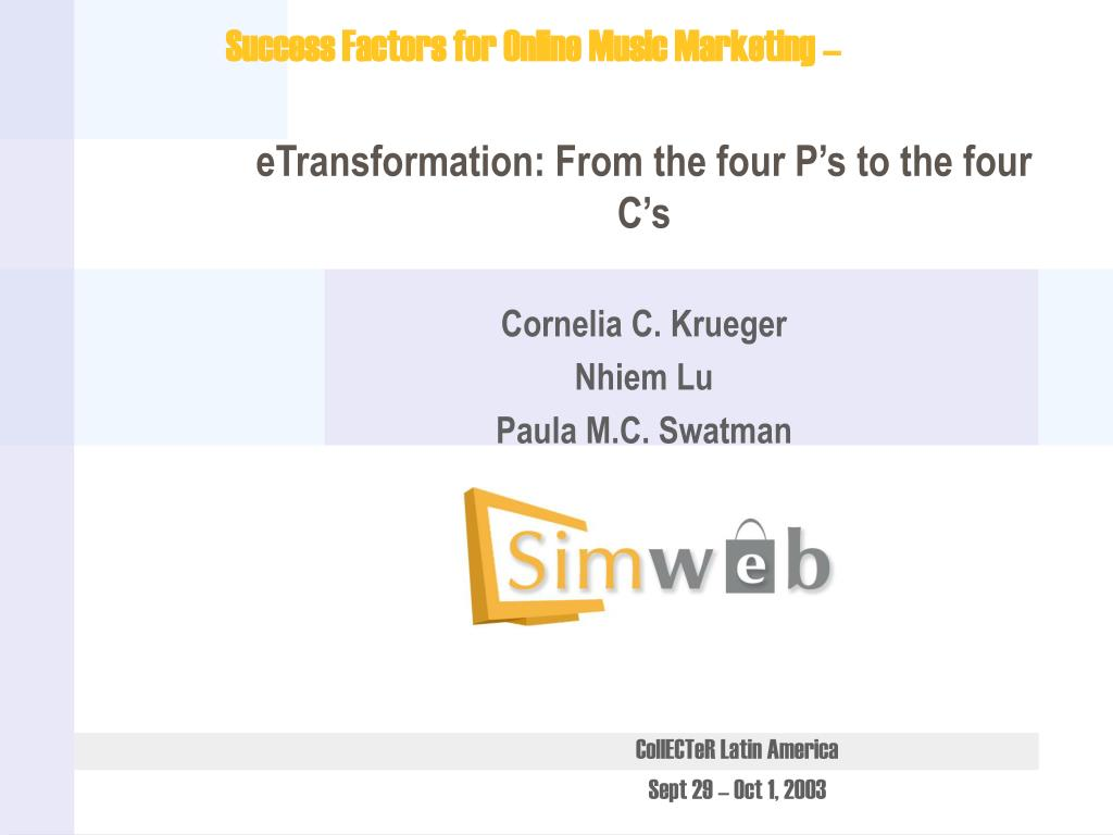 etransformation from the four p s to the four c s cornelia c krueger nhiem lu paula m c swatman l.