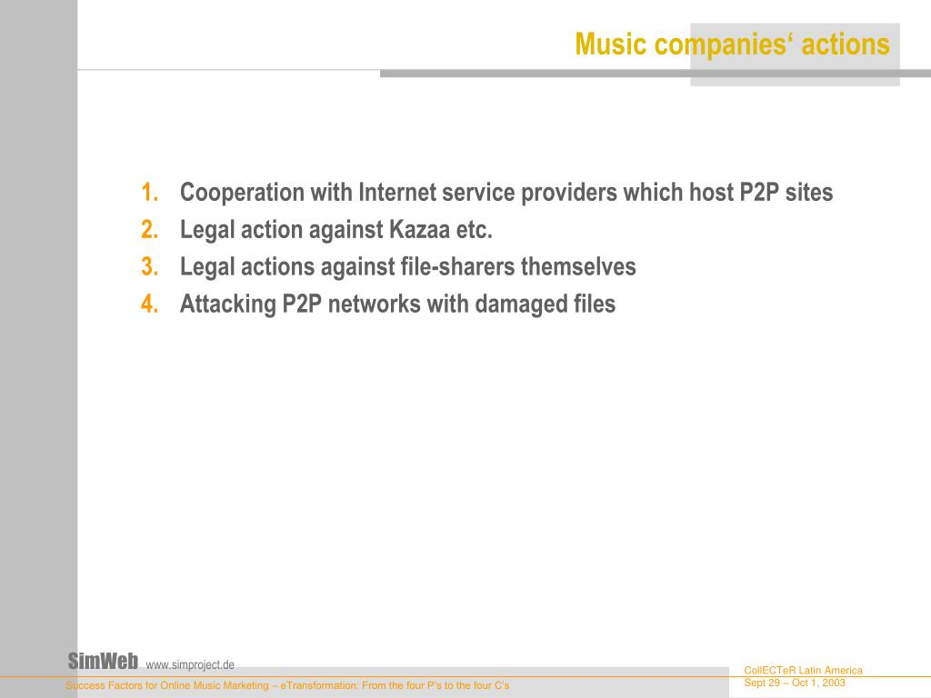 Music companies' actions