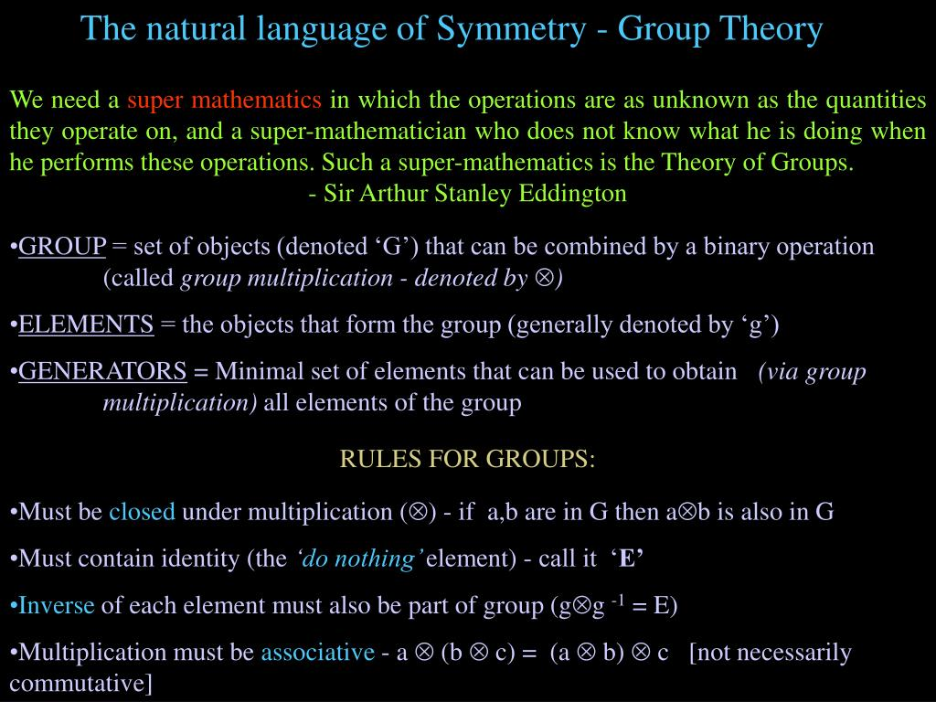 The natural language of Symmetry - Group Theory