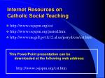 internet resources on catholic social teaching