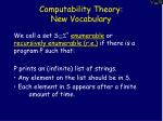 computability theory new vocabulary