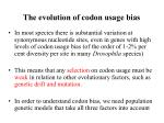 the evolution of codon usage bias