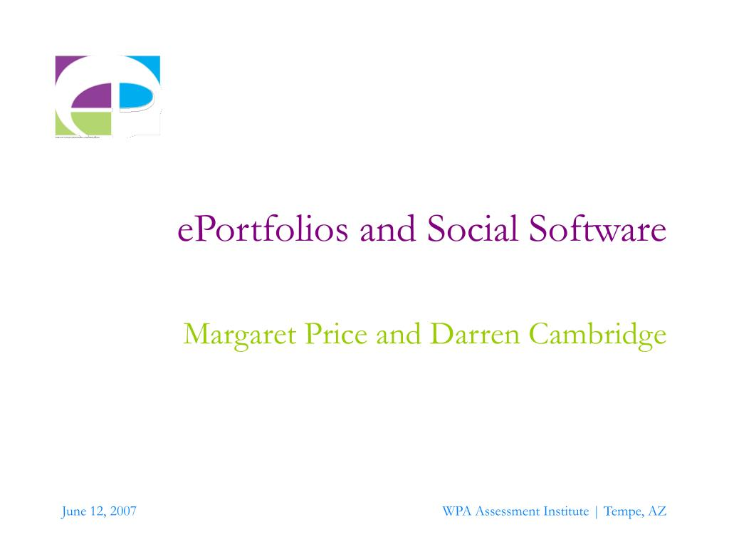 eportfolios and social software l.