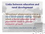 links between education and rural development