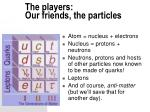 the players our friends the particles