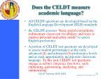 does the celdt measure academic language