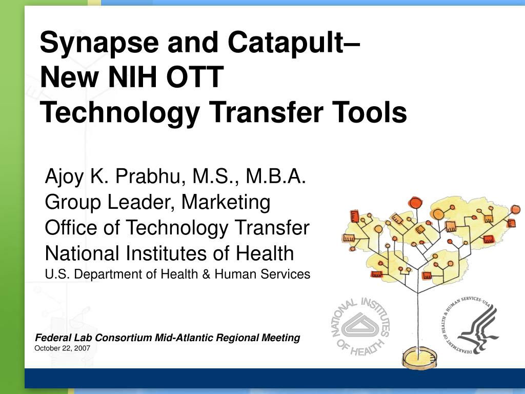 synapse and catapult new nih ott technology transfer tools l.