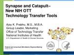 synapse and catapult new nih ott technology transfer tools