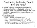 constructing the parsing table i first and follow