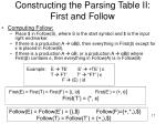 constructing the parsing table ii first and follow