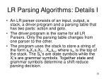 lr parsing algorithms details i
