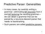 predictive parser generalities
