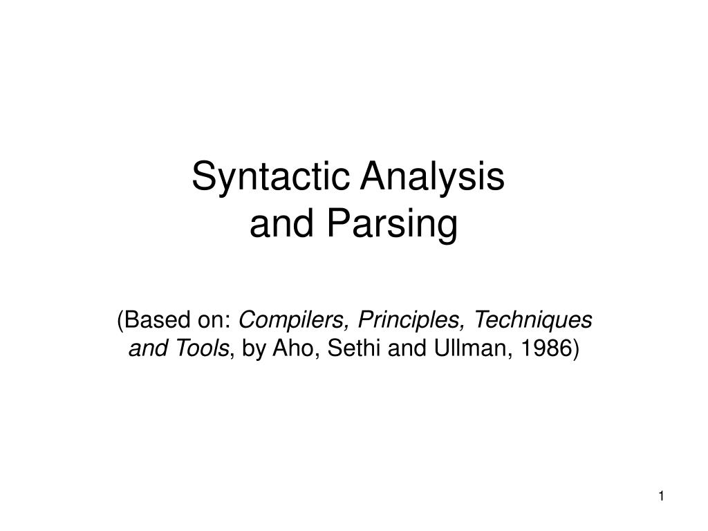 syntactic analysis and parsing l.