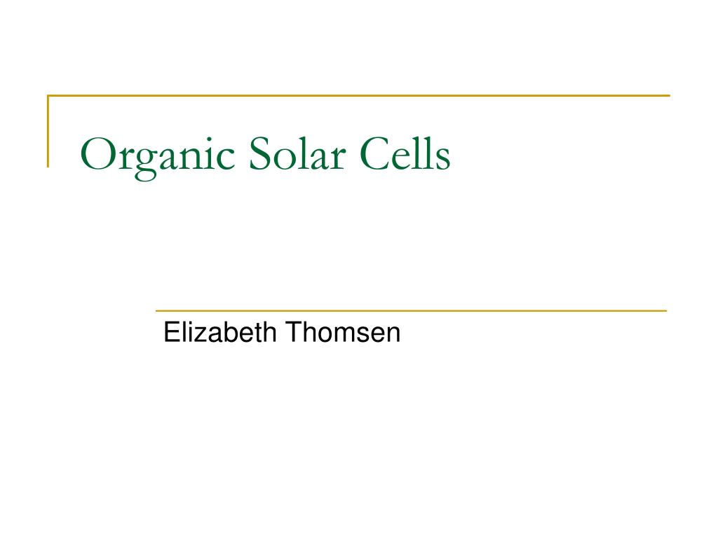 organic solar cells l.