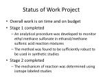 status of work project