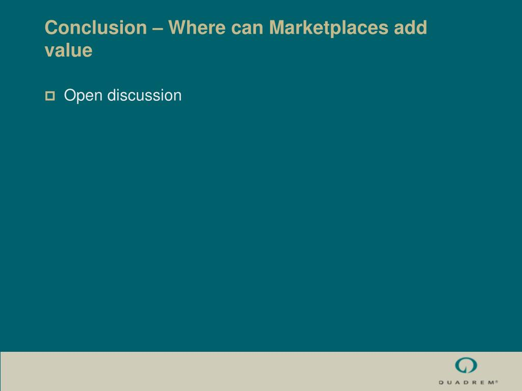 Conclusion – Where can Marketplaces add value