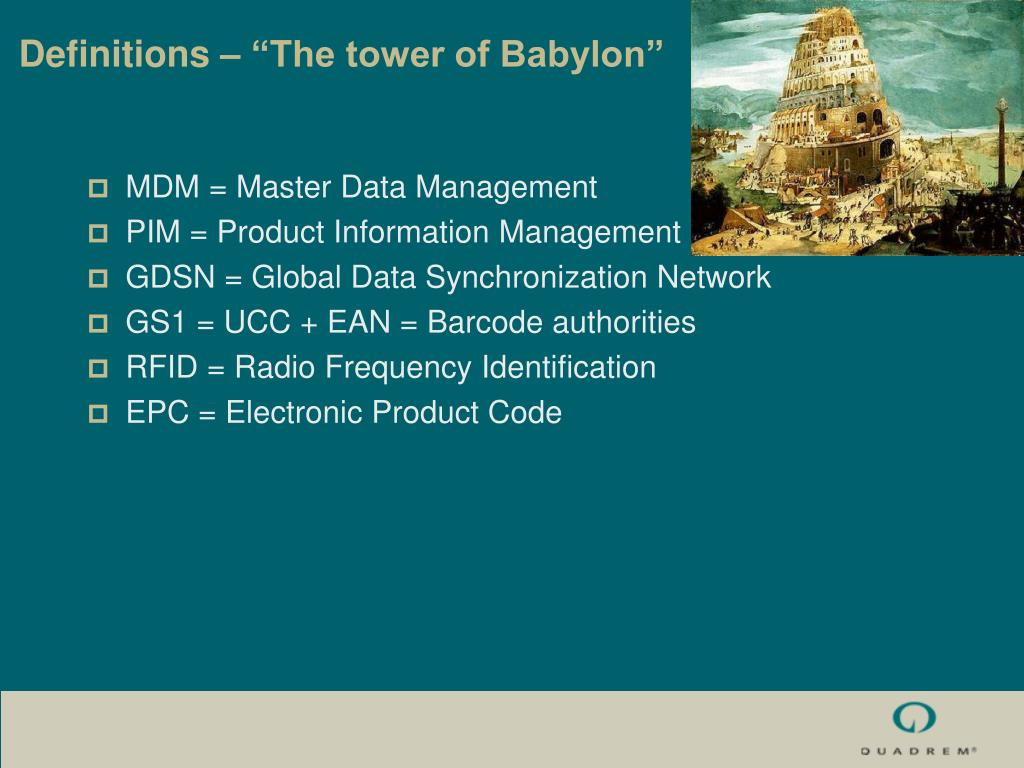 "Definitions – ""The tower of Babylon"""