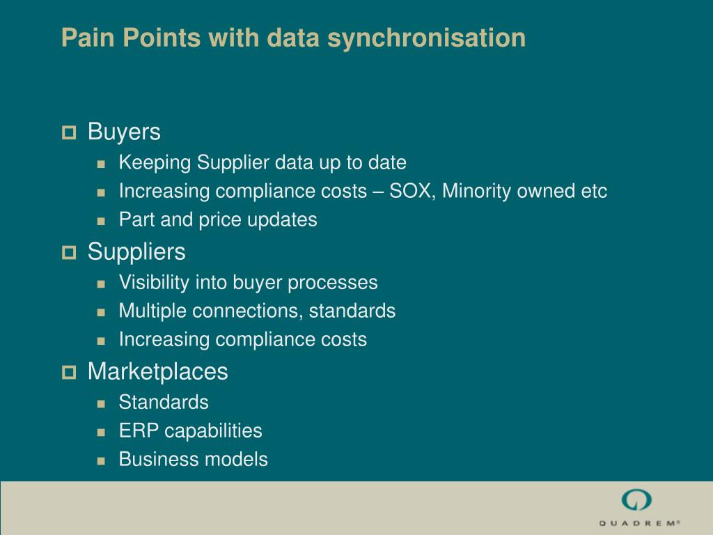 Pain Points with data synchronisation