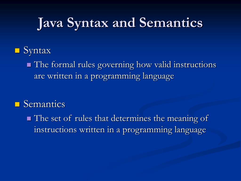 java syntax and semantics l.