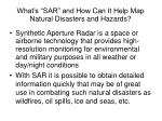 what s sar and how can it help map natural disasters and hazards