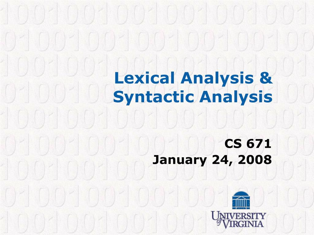 lexical analysis syntactic analysis l.