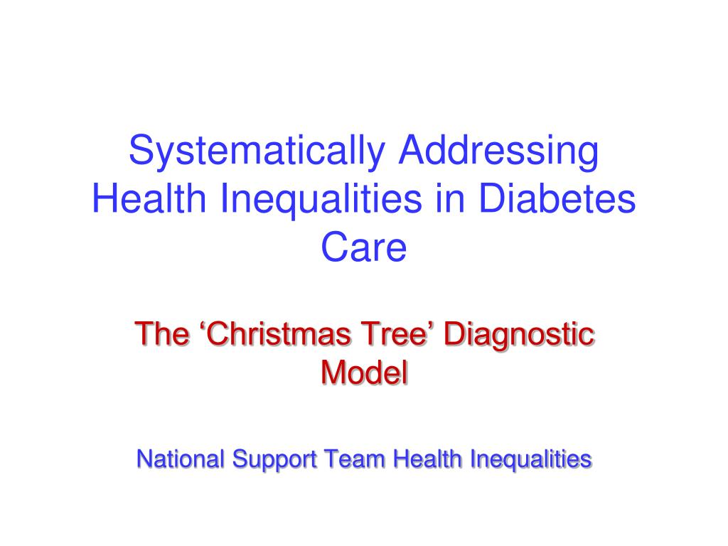 systematically addressing health inequalities in diabetes care l.