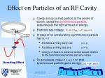 effect on particles of an rf cavity