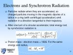 electrons and synchrotron radiation