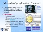methods of acceleration circular
