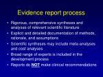 evidence report process