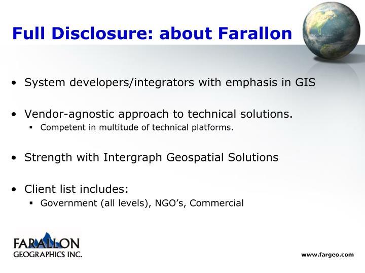 Full disclosure about farallon